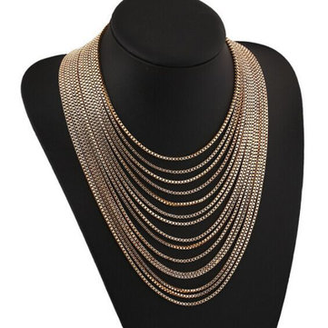 Women's Gold Multilayer Long Necklace