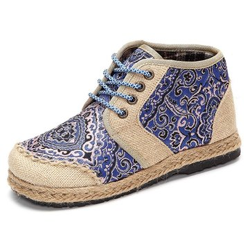 Flower Pattern Vintage Knitting Weave High Toe Lace Up Boots