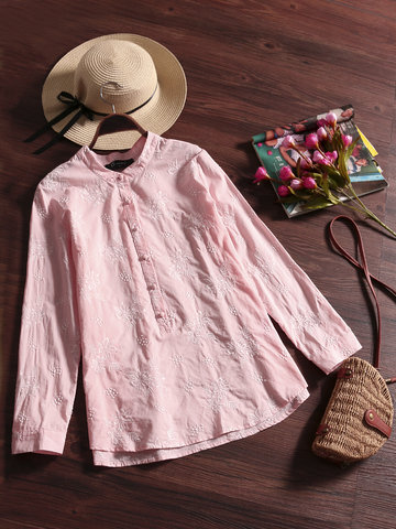 O-NEWE Flower Embroidery Shirts For Women