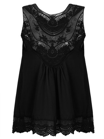Sleeveless Lace Transparent Sexy Chiffon Women Tank Tops