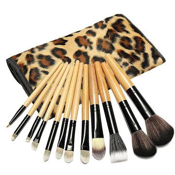 12 шт Профессиональные кисти для макияжа Набор косметический инструмент с сумкой для леопарда