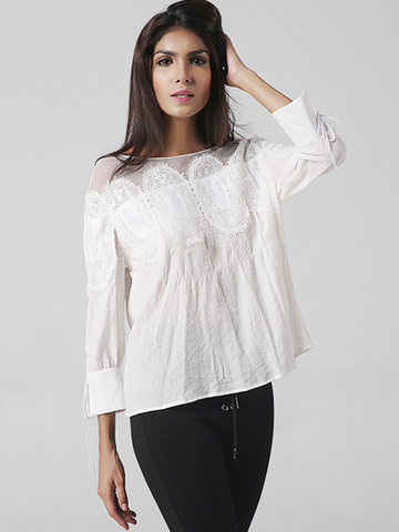 Elegant Women Long Sleeve Lace Hollow Patchwork Shirts