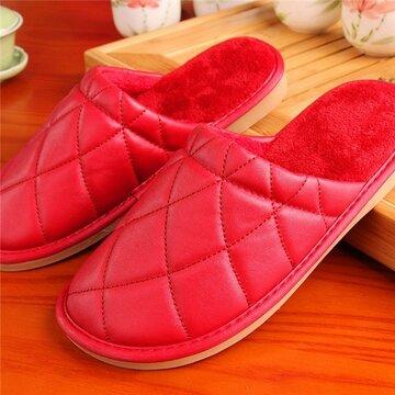 Plaid Pure Color Pu Slip On Home Тапочки Крытый обувь
