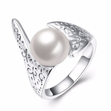 Simple Women Ring Silver Ancient  Carve Pearl Ring