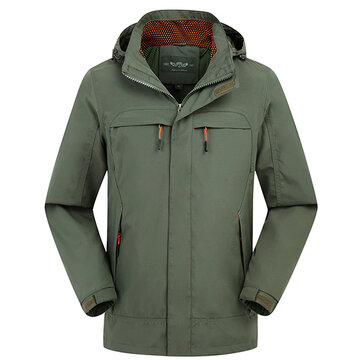 Outdoor Casual Thin Water-Resistant Detachable Hood Sports Jacket For Men