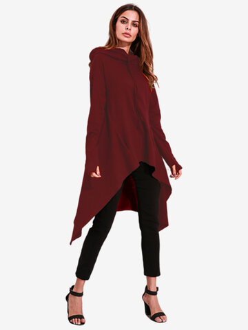 Casual Women Long Sleeve Irregular Hem Hooded Long Sweatshirts