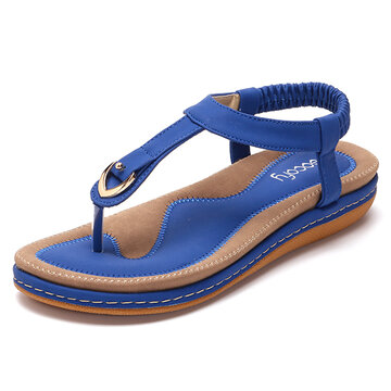 SOCOFY Comfy Elastic Clip Toe Beach Sandals