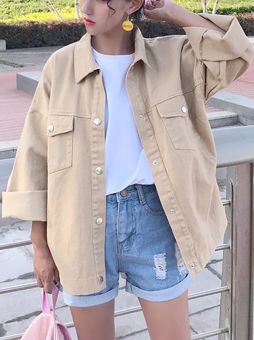 Casual Lapel Pure Color Pocket Jackets For Women