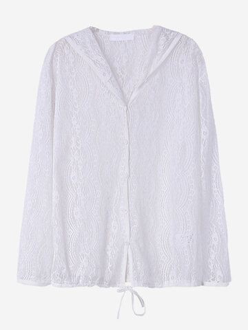 O-NEWE Lace Hollow Hooded Solid Color Cardigan For Women