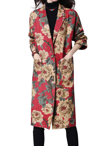 Casual Flower Printed Long Sleeve Lapel Button Long Jacket For Women