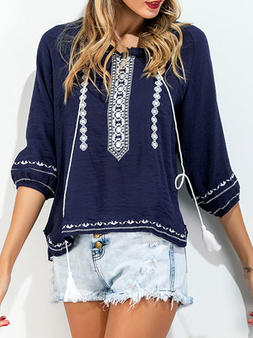 Casual Embroidered O-neck 3/4 Sleeve Blouse For Women