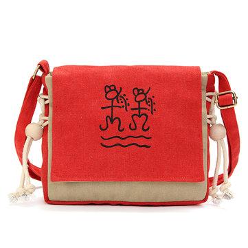 Women Men Canvas Casual Creative Writing Prose Shoulder Bag Crossbody Bags