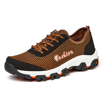 Men Mesh Fabric Splicing Breathable Slip Resistant Outdoor Upstream Shoes