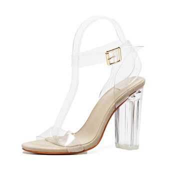 Transparency Buckle High Block Heel Strappy Peep Toe Sandals