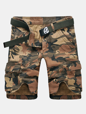 Summer Loose Camouflage Multi-Pocket Algodón Cargo Shorts Casual Shorts Para Hombres