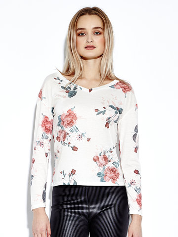 Women Slim Floral Print Long Sleeve V-neck T-shirt