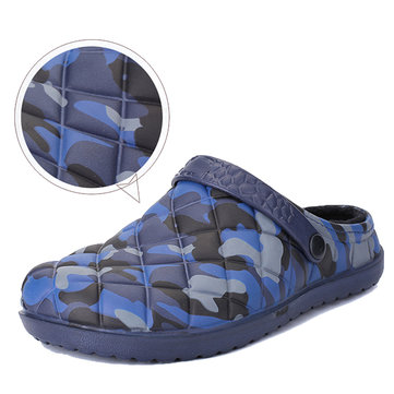 Men Camouflage Water Resistant Warm Plush Lining Slippers