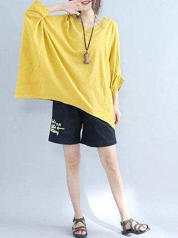 Irregular Loose Bat Sleeve Women T-shirts