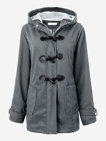 Women Casual Fleece Long Sleeve Horn Buttons Hooded Warm Coat