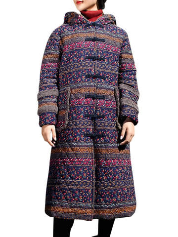 Vintage Printed Thicken Hooded Coats