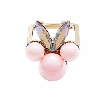 Balancing Style Cute Ring Alloy Pink Pearl Rhinestone Ring