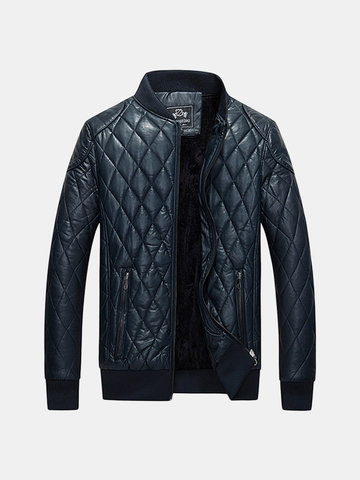 Casual Outdoor Thick Fleece Motorcycle PU Leather Stand Collar Padded Jacket For Men