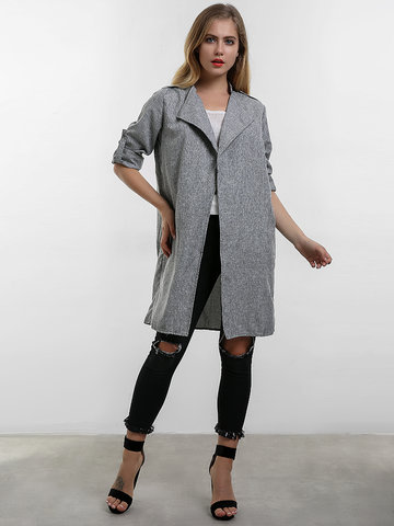 O-NEWE Loose Casual Gray Lapel Long Jackets For Women