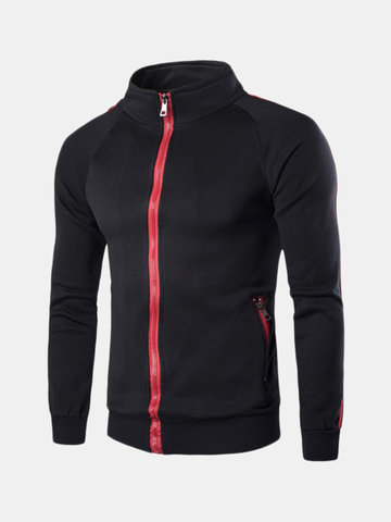 Men's Classic Casual Zipper Stand Collar Solid Color Sports Sweatshirts