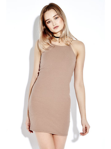 Women Casual Spaghetti Strap Bodycon O-neck Dress