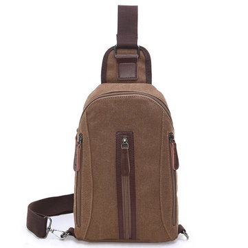 Men Casual Canvas Chest Bag Outdoor Sports Durable Crossbody Bag