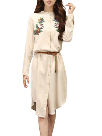 Women Ethnic Style Embroidery Button Belt Stand Collar Dress