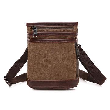 Men Canvas Casual Zipper Black Khaki Coffee Shoulder Crossbody Bag Wasit Bag