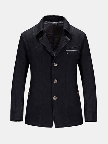 Business Casual Korean Style Solid Color Slim Fit Blazers for Men