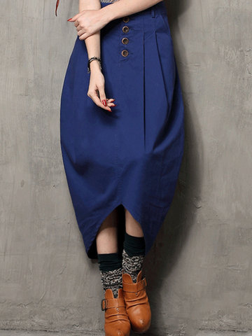 Vintage Solid Denim Irregular Hem Women Skirts