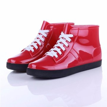 Waterproof Casual PVC Ankle Lace Up Rain Boots For Women