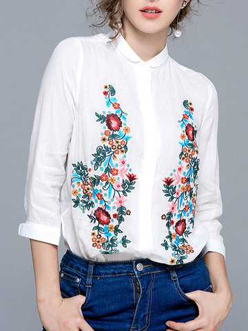 Casual broderie Turn-Down col manches longues femmes chemises