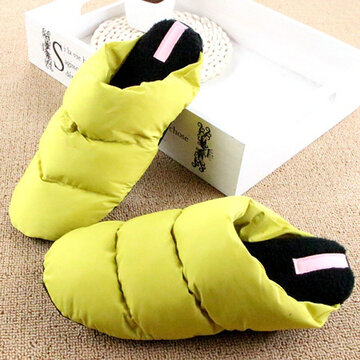Waterproof Warm Down Light Slip On Open Heel Flat Indoor Home Shoes
