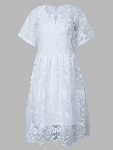 Lace Embroidery Short Sleeve White Vintage Two Pieces Dress