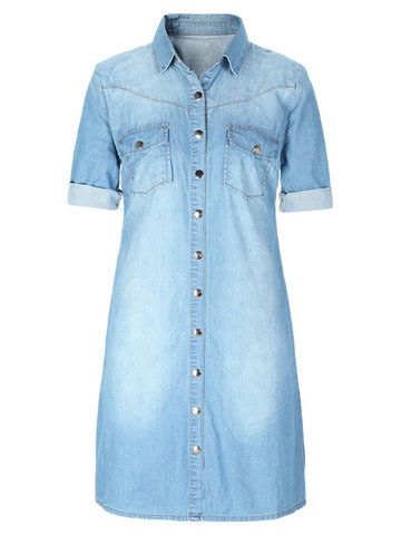 Casual Pure Color Lapel Button Half Sleeve Denim Shirt Dress For Women