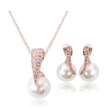 Alloy Crystal Simulated Pearl Wedding Neckalce Earrings Jewelry Set