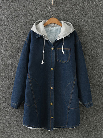 Vintage Denim Hooded Fluff Pockets abrigos para mujer