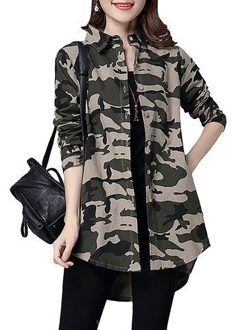 Camuflaje Militar impreso fresco manga larga Mujer Camisas