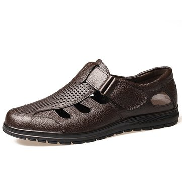 Men Hook-Loop Hollow Out Breathable Sandals Comfortable Leat