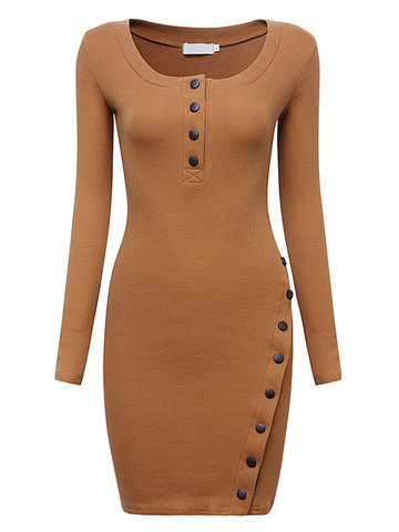 Women Sexy Long Sleeve O-neck Side Split Pure Color Stretched Dresses