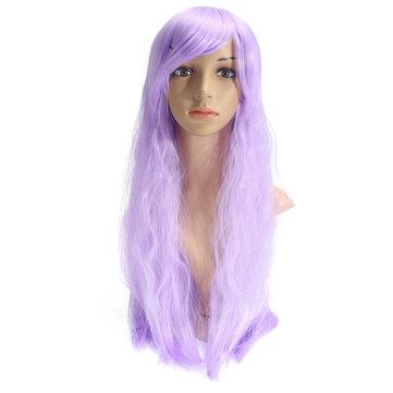 70см светло-фиолетовый кукуруза Пермь длинный вьющиеся волнистые Cosplay парик партии парики