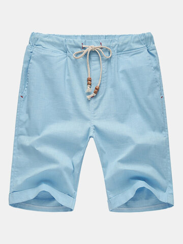 Mens Spring Summer Multicolor Drawstring Solid Color Cotton Blend Casual Sports Shorts