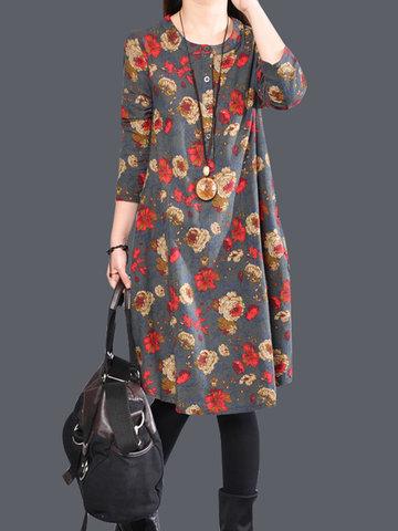 Vestido casual suelto con estampado floral de corte irregular con cuello en O de mangas largas para mujeres