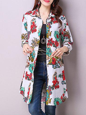 Цветочный печатный длинный рукав отворотом Vintage длинная блузка для женщин