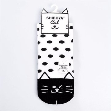 Cute Cat Cotton Face Plaid Dot Stripe Socks