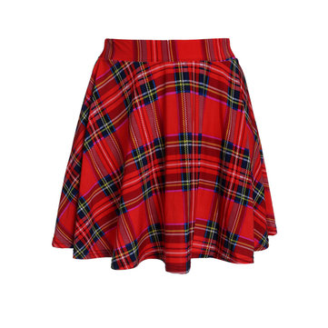 Retro Prick Style Grid Plaid Printed Pleated Women Skating Skirt